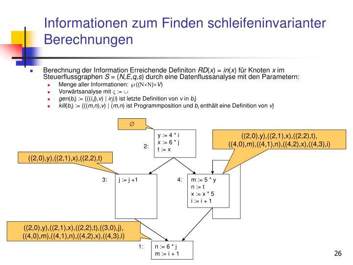 Informationen zum Finden schleifeninvarianter Berechnungen