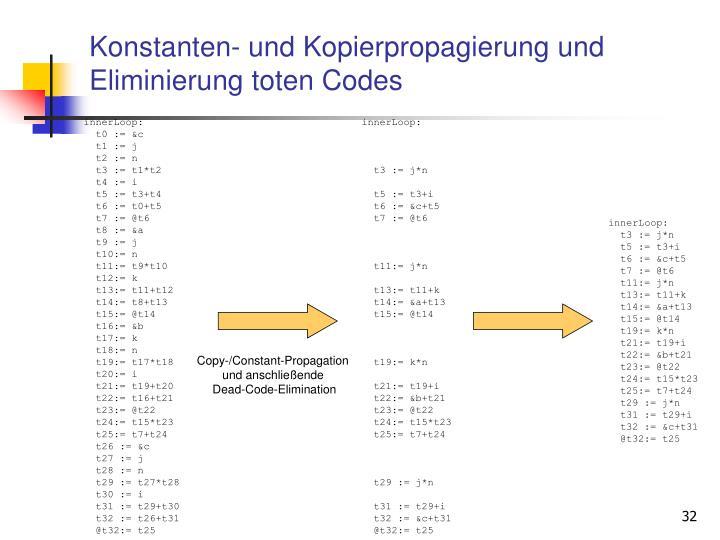 Konstanten- und Kopierpropagierung und Eliminierung toten Codes