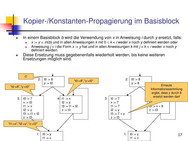 Kopier-/Konstanten-Propagierung im Basisblock