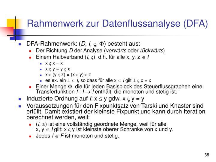Rahmenwerk zur Datenflussanalyse (DFA)