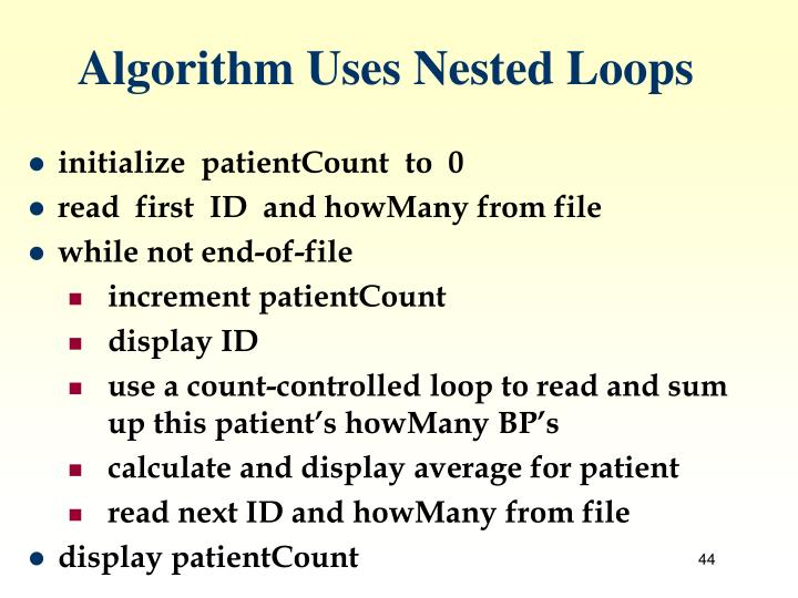 Algorithm Uses Nested Loops
