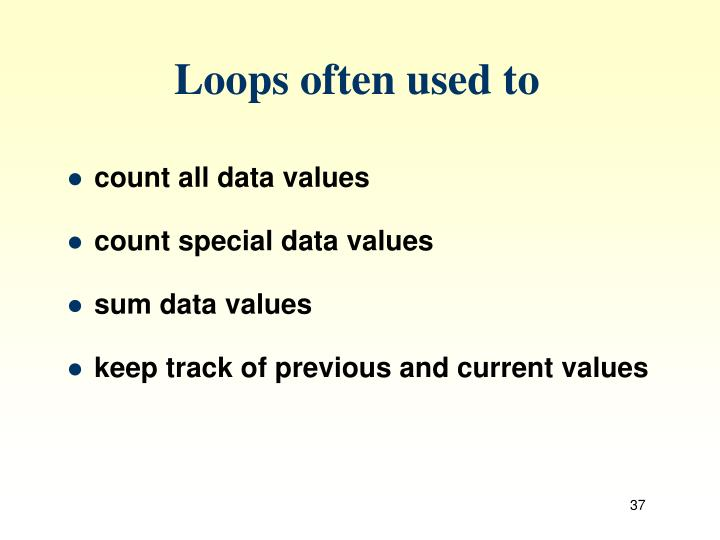 Loops often used to