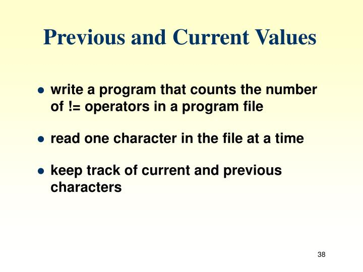 Previous and Current Values