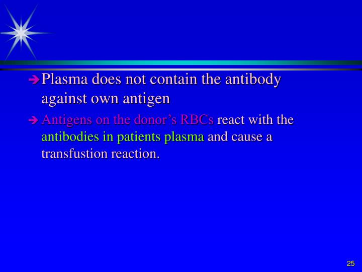 Plasma does not contain the antibody against own antigen