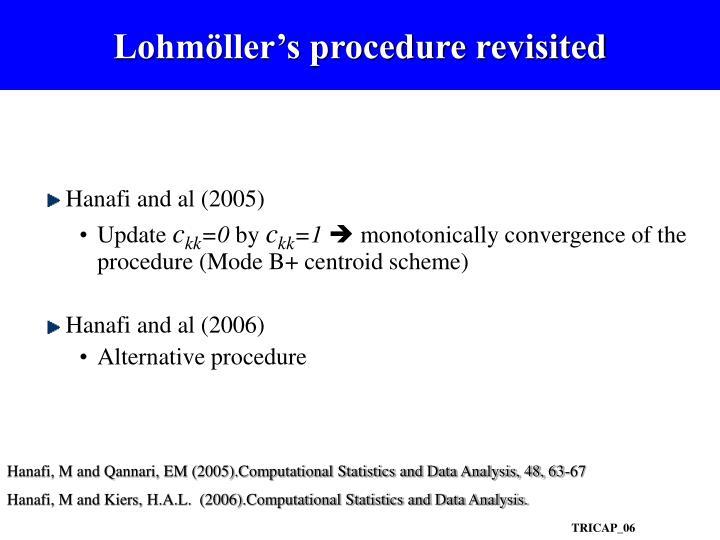 Lohmöller's procedure revisited