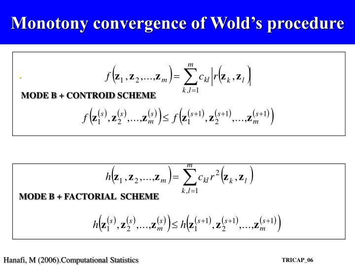 Monotony convergence of Wold's procedure