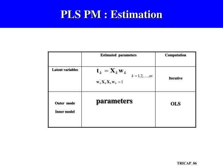 PLS PM : Estimation