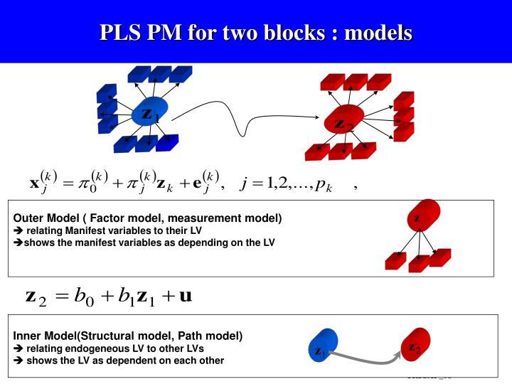 PLS PM for two blocks : models