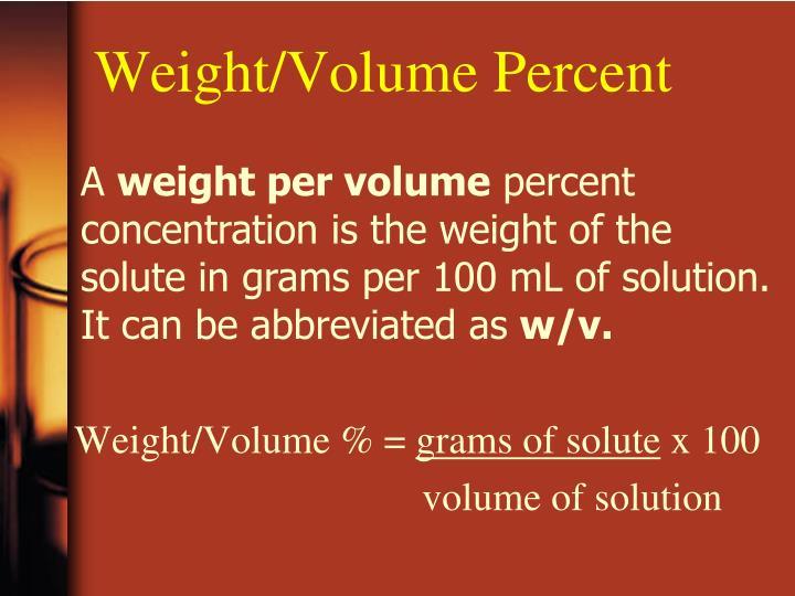 Weight/Volume Percent