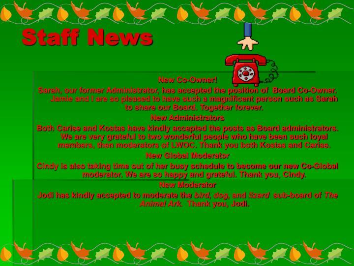 Staff News