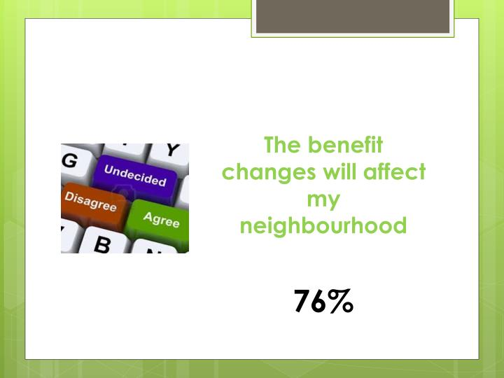 The benefit changes will affect my neighbourhood
