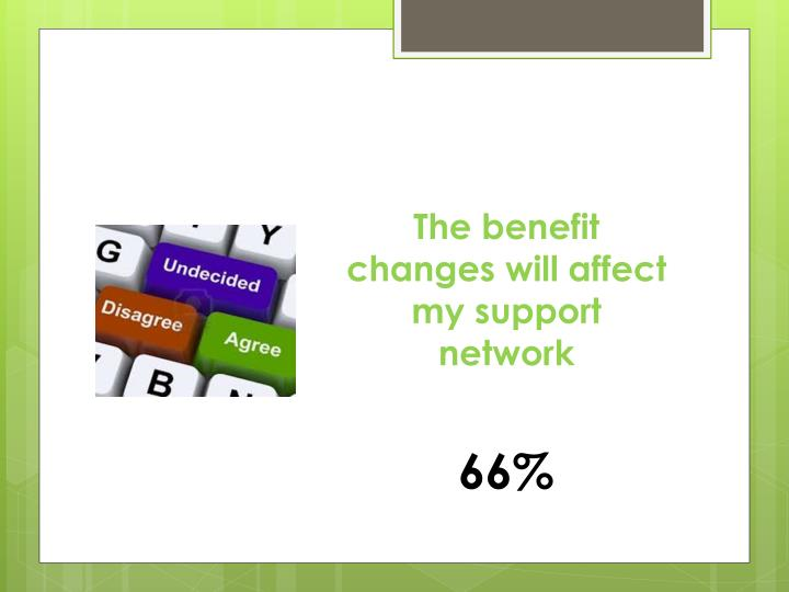 The benefit changes will affect my support network