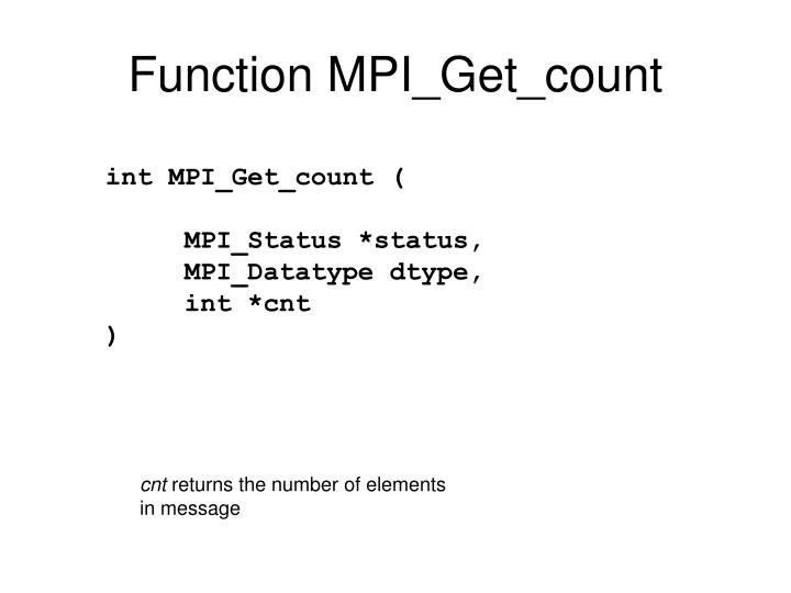 Function MPI_Get_count