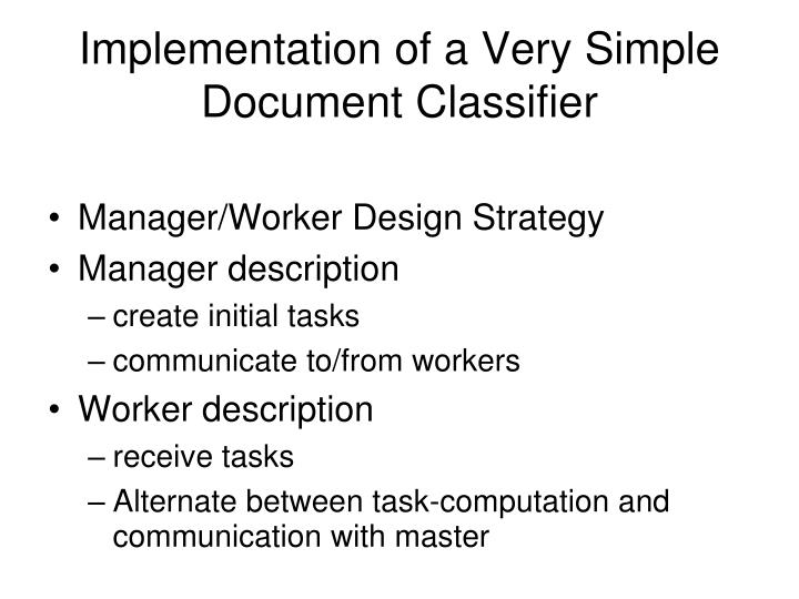 Implementation of a very simple document classifier