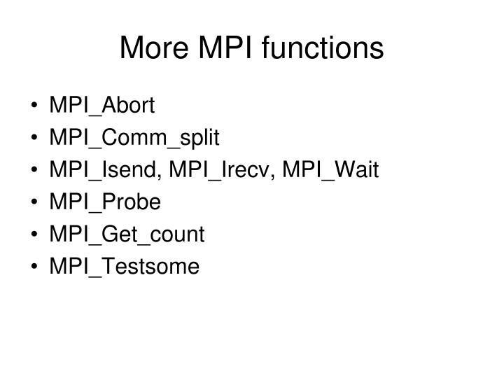 More MPI functions