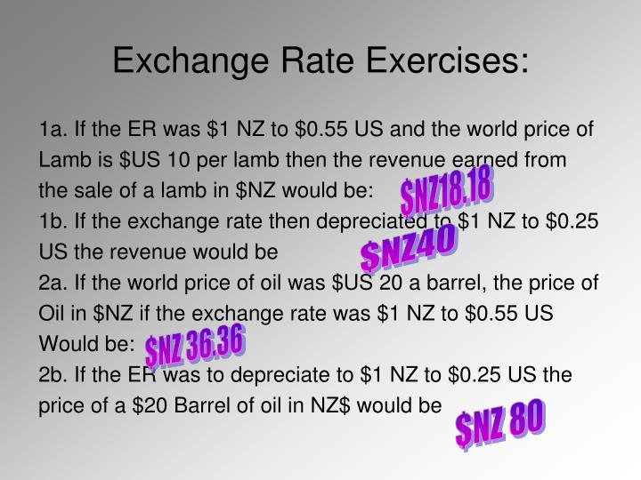 Exchange Rate Exercises: