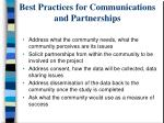 best practices for communications and partnerships