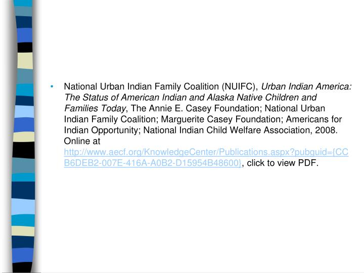 National Urban Indian Family Coalition (NUIFC),
