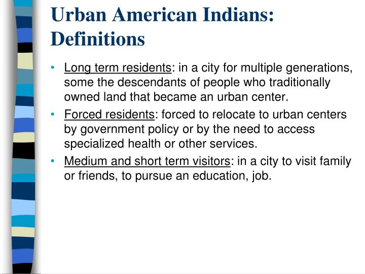 Urban American Indians: Definitions