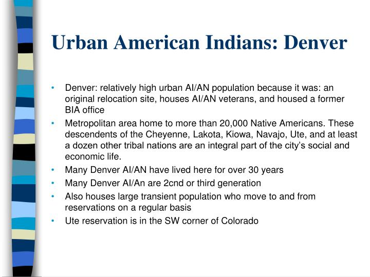 Urban American Indians: Denver