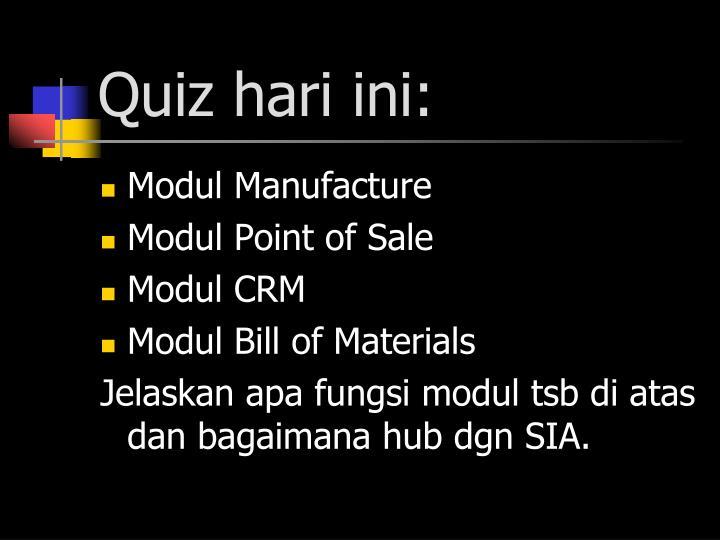 Quiz hari ini:
