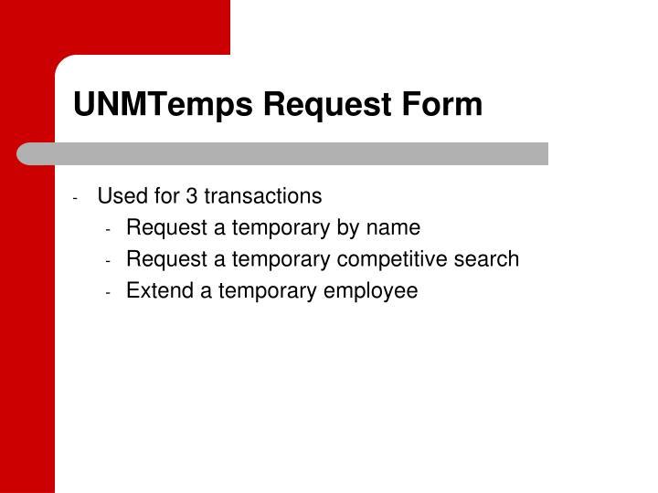 UNMTemps Request Form