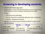 screening in developing countries