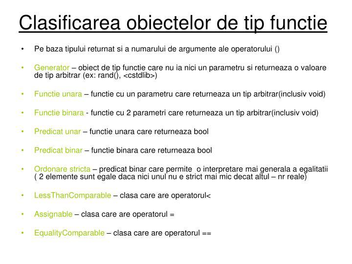 Clasificarea obiectelor de tip functie
