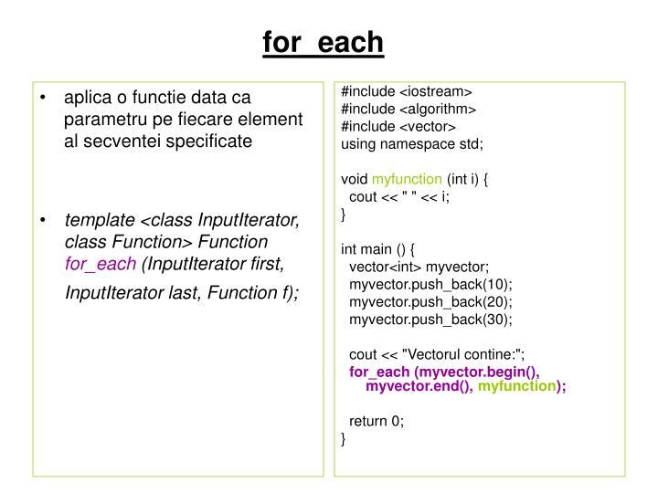aplica o functie data ca parametru pe fiecare element al secventei specificate
