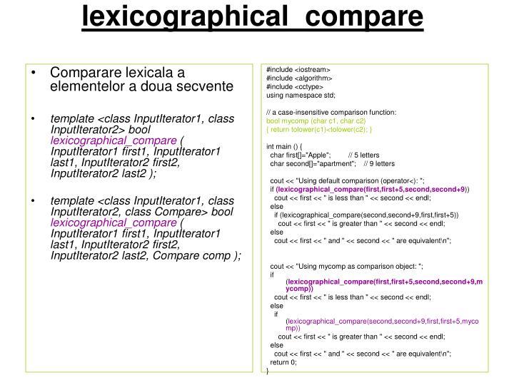 Comparare lexicala a elementelor a doua secvente