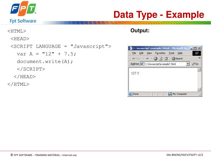 Data Type - Example