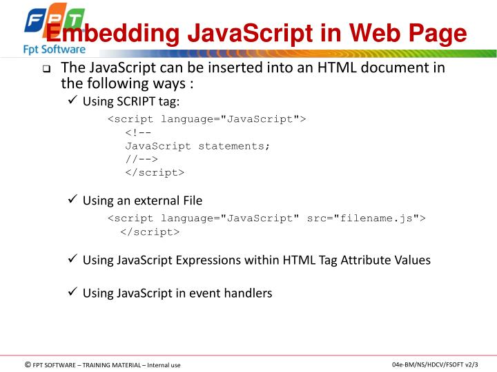 Embedding JavaScript in Web Page