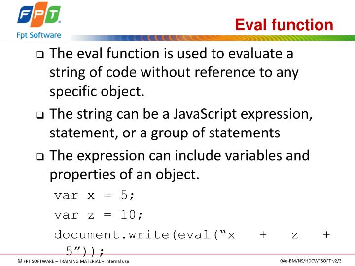 Eval function