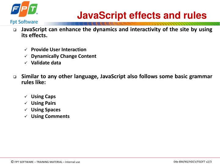 JavaScript effects and rules