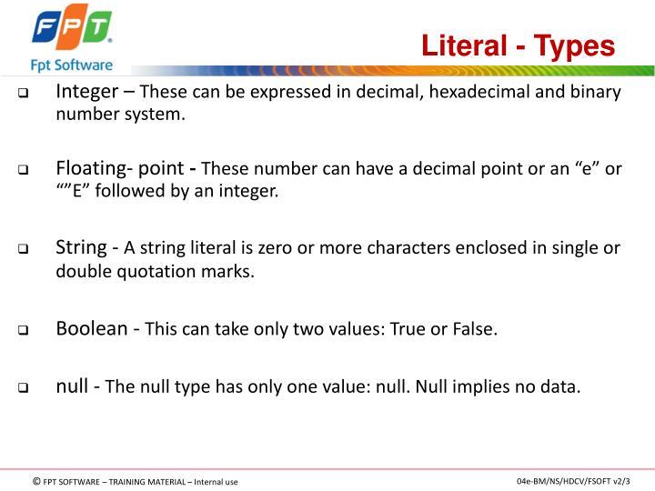 Literal - Types