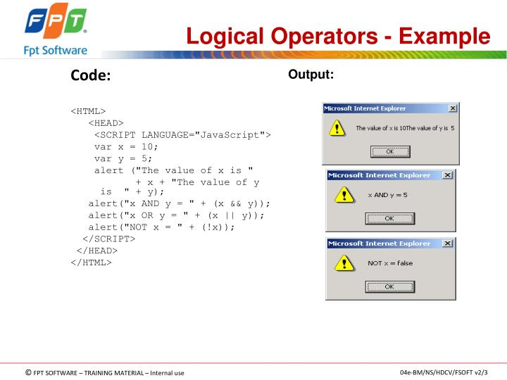 Logical Operators - Example