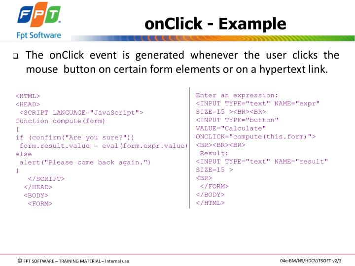 onClick - Example