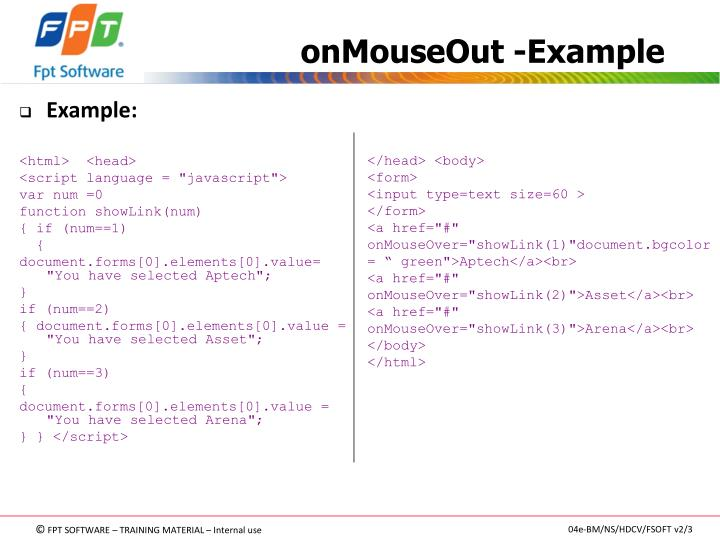 onMouseOut -Example