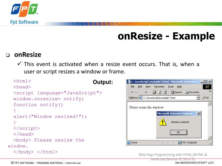 onResize - Example