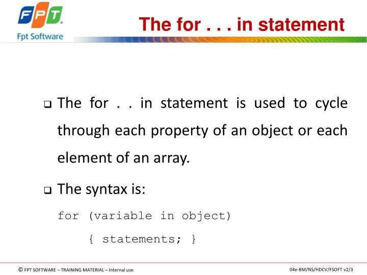 The for . . . in statement