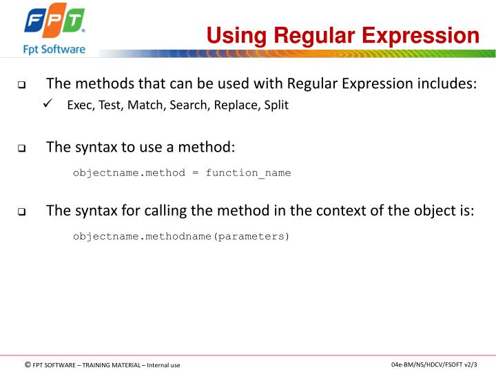 Using Regular Expression