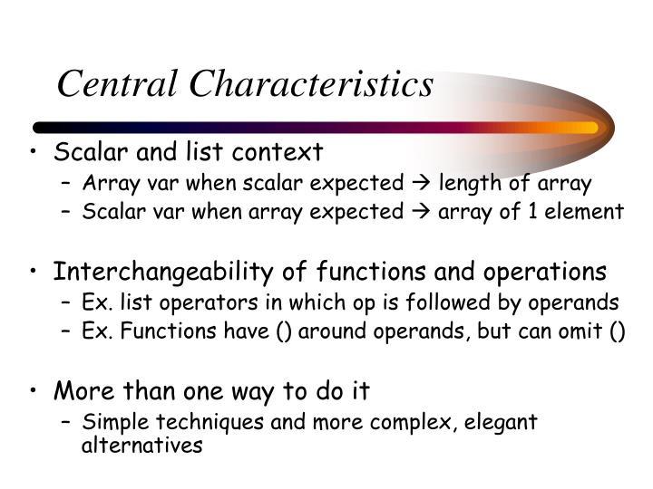 Central Characteristics