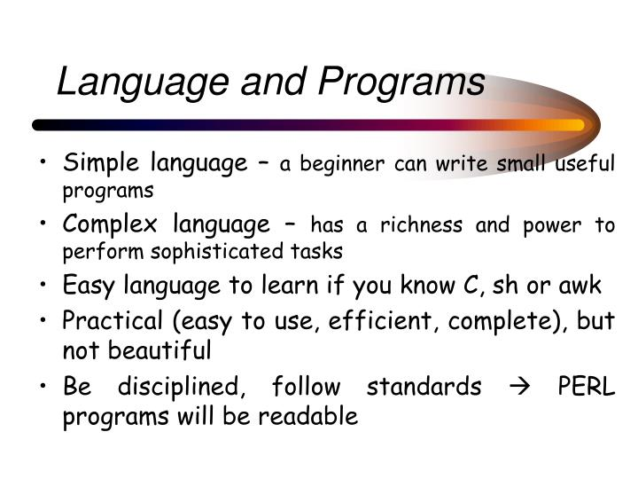 Language and Programs