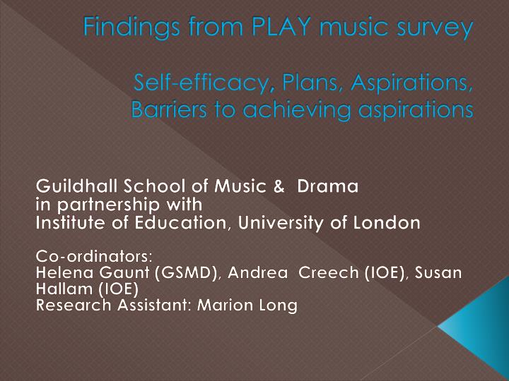 Findings from play music survey self efficacy plans aspirations barriers to achieving aspirations