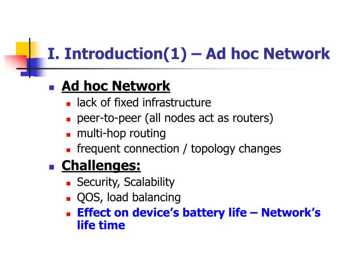 I introduction 1 ad hoc network