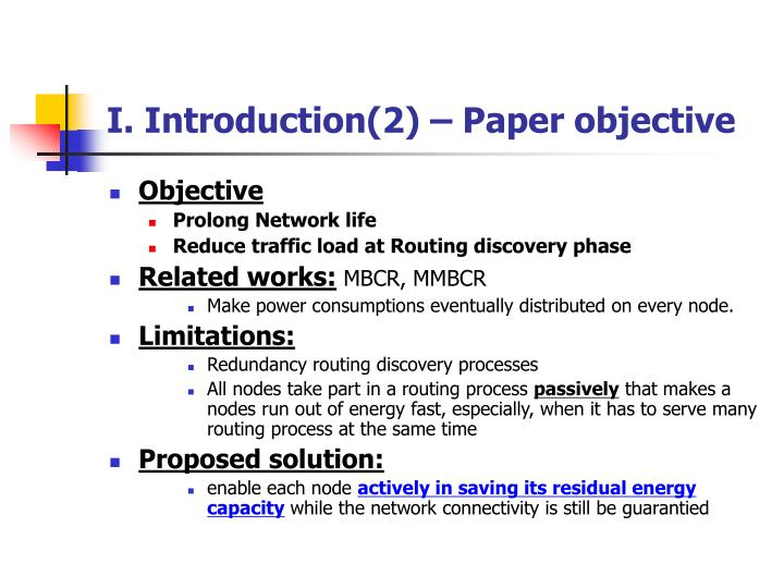 I. Introduction(2) – Paper objective
