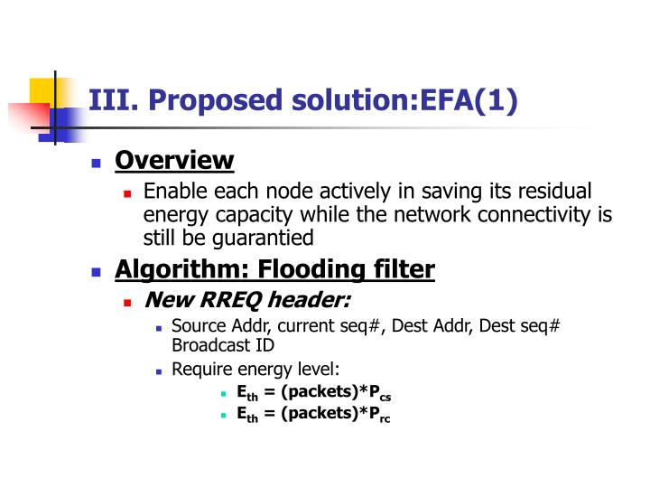 III. Proposed solution:EFA(1)