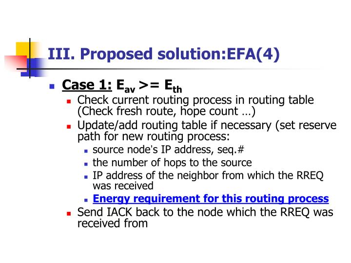 III. Proposed solution:EFA(4)