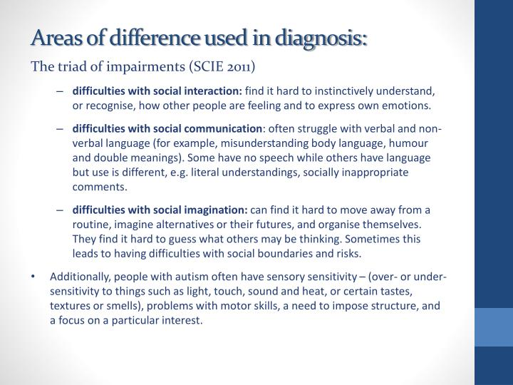 Areas of difference used in diagnosis: