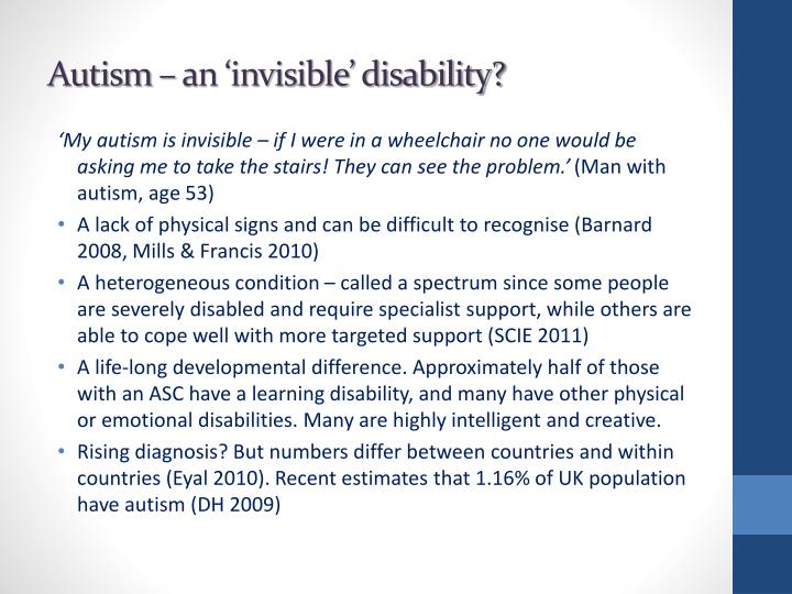 Autism – an 'invisible' disability?